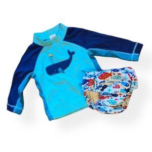Long sleeved rash guard and swim diaper swimsuit